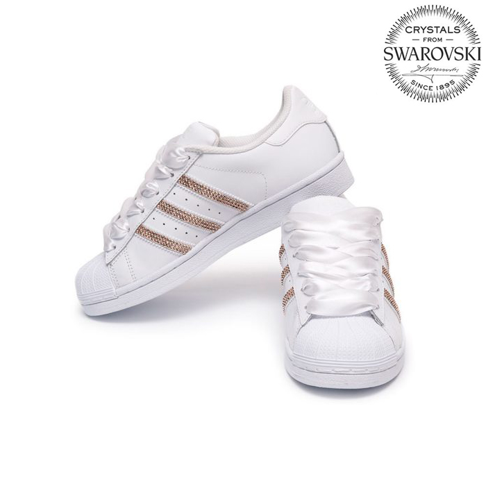 adidas superstar white and rose gold